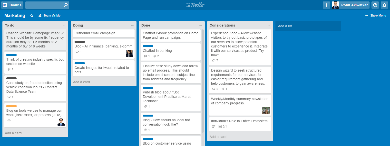 Maruti Techlabs Marketing board Trello