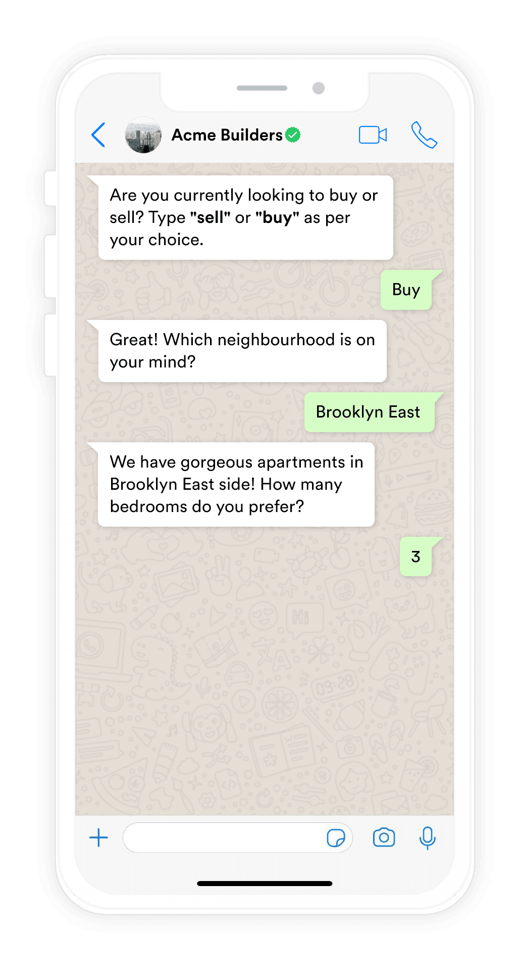 Example of Whatsapp Chatbot for real estate industry