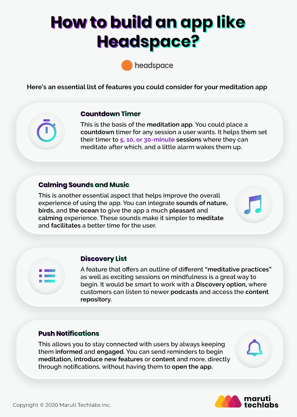Meditation app features